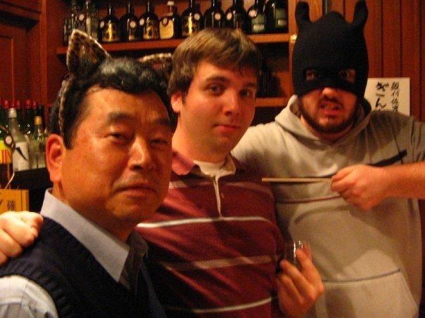 Having a drink with Kunio Nishimura
