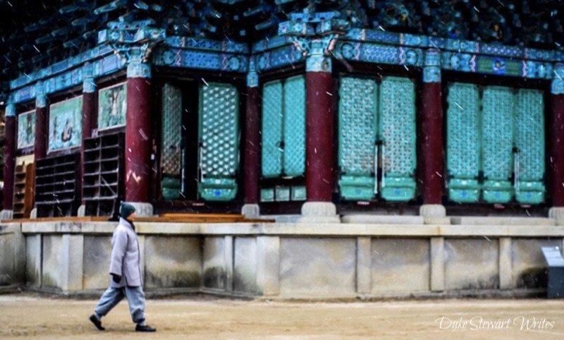 Monk Walking at Songgwangsa, Suncheon