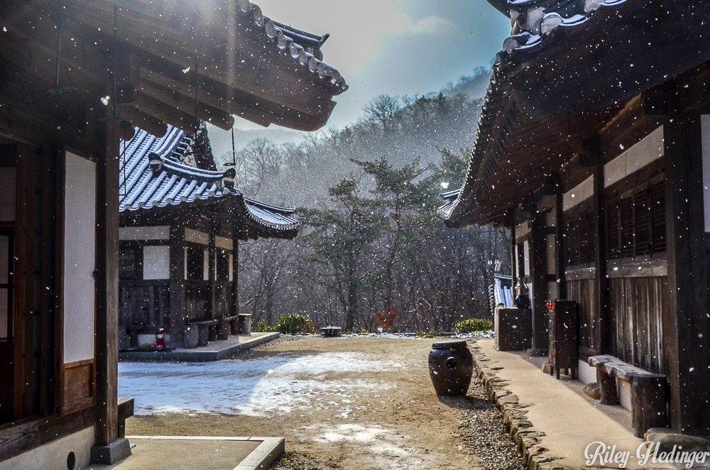 Snow and Sun at Suncheon's Seonamsa