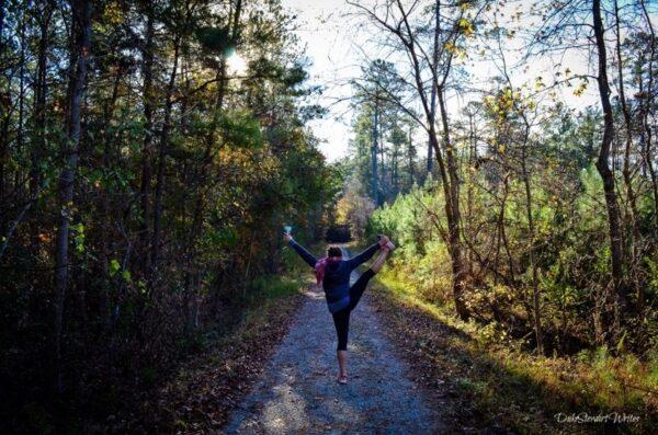 Christina Yogaing in Duke Forest, North Carolina