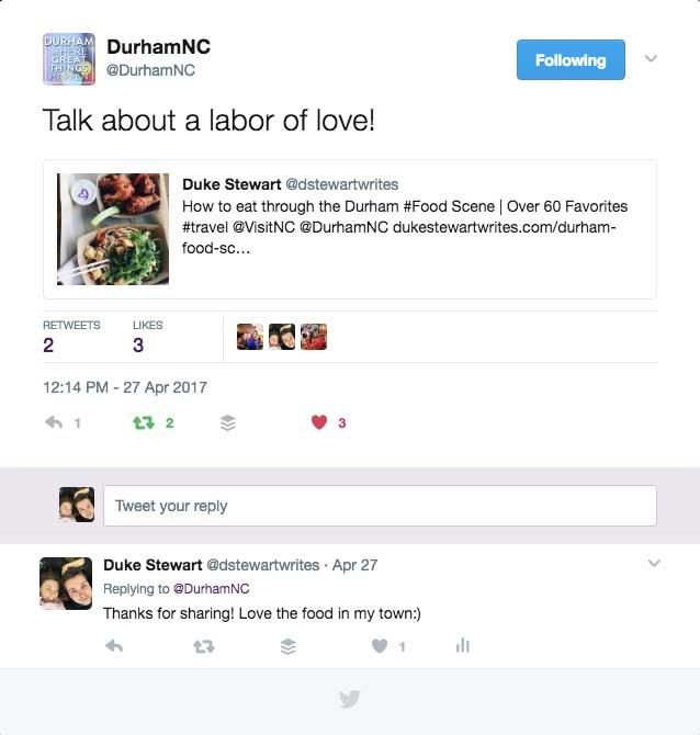Durham NC Twitter Share