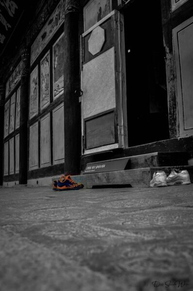 Shoes at the entrance of one of Haeinsa Temple Gayasan National Park South Korea