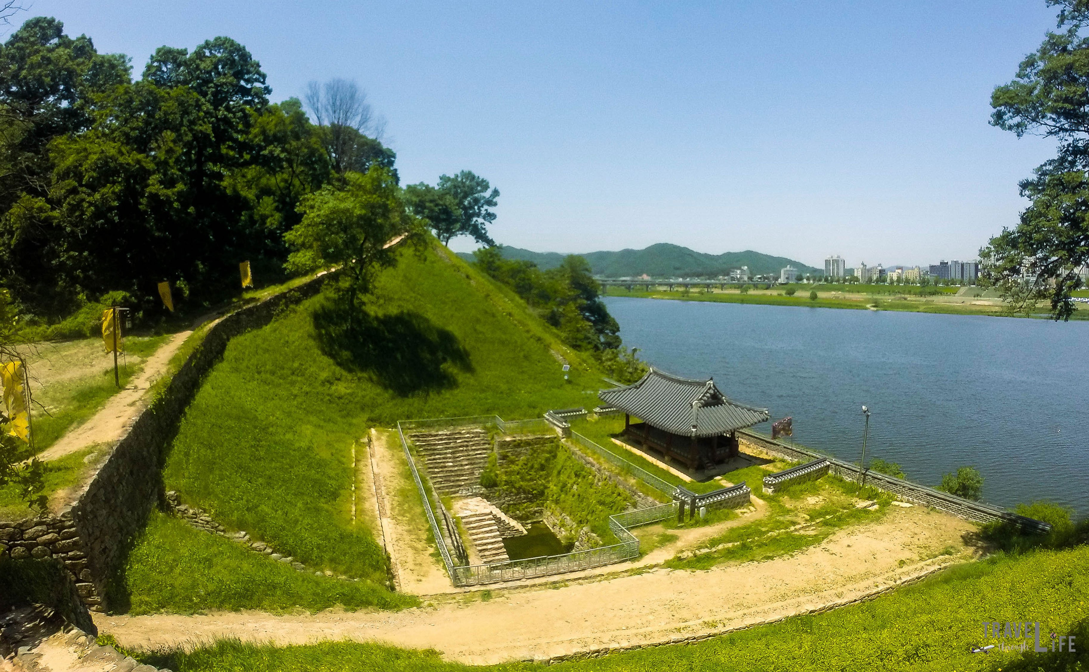 Image of Manharu Pavilion and Walkway-at-Gongju Fortress South Korea