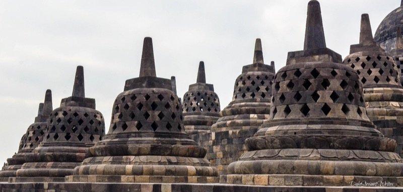 Borobudur Temple Stupas from afar, Indonesia