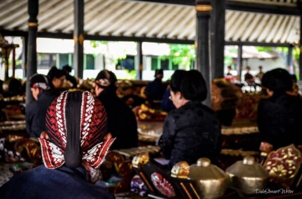 Standing Behind the Gamelan Performance in Yogyakarta's Kraton, Indonesia