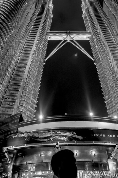 Duke Stewart staring up at the Petronas Towers, Malaysia