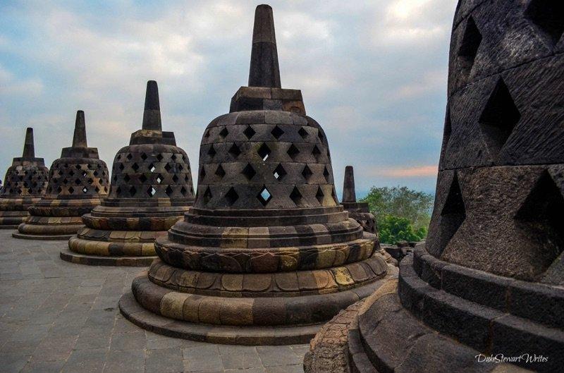 Beautiful Stupas seen during our Borobudur Sunrise Tour