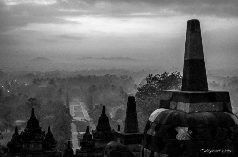 Borobudur Sunrise in Black and White