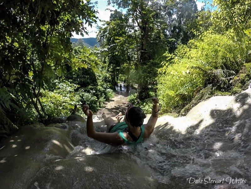 Christina at Thailand's Bua Thong Waterfalls near Chiang Mai