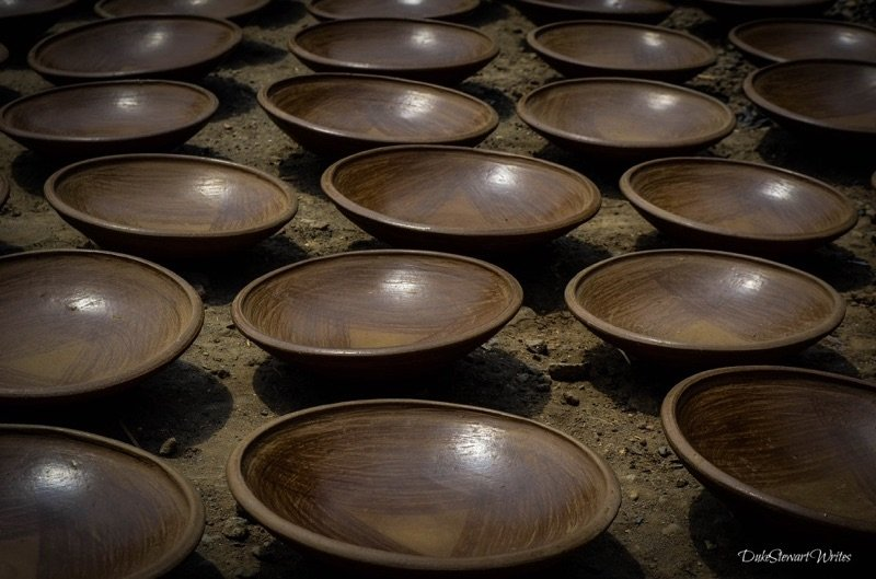 Clay Bowls resting near Borobudur Temple in Indonesia