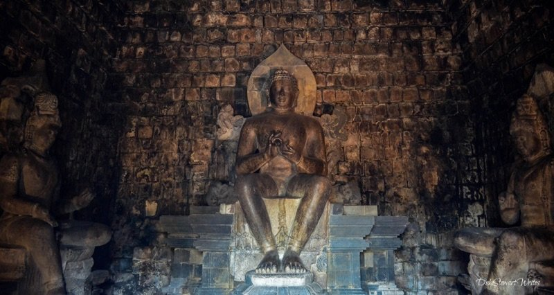 Inside Mendut Temple in Indonesia