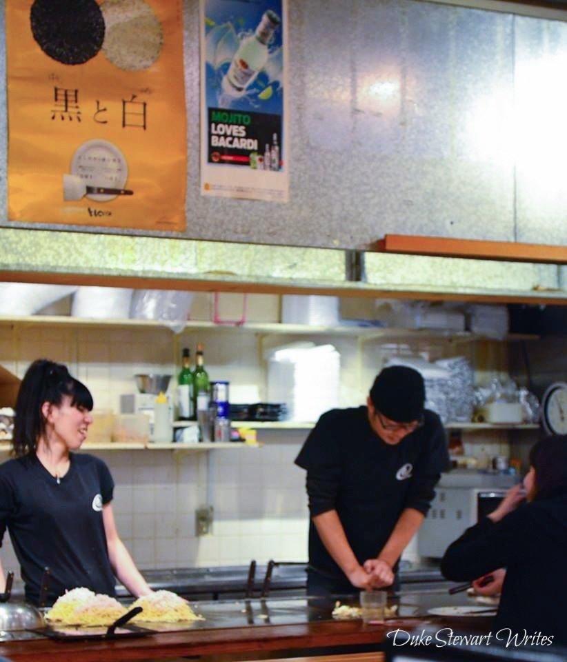 Making Okonomiyaki in Hiroshima, Japan