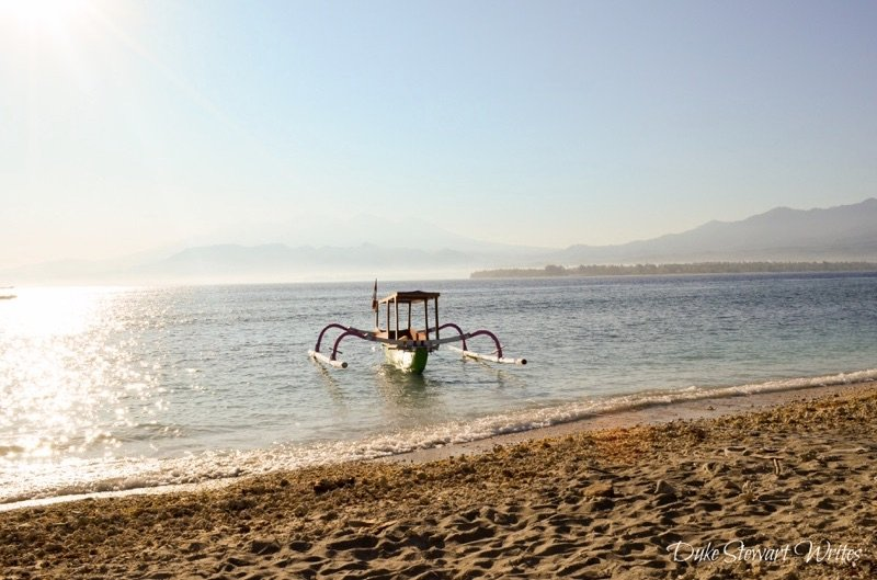 Boat and Water in Gili Air, Indonesia