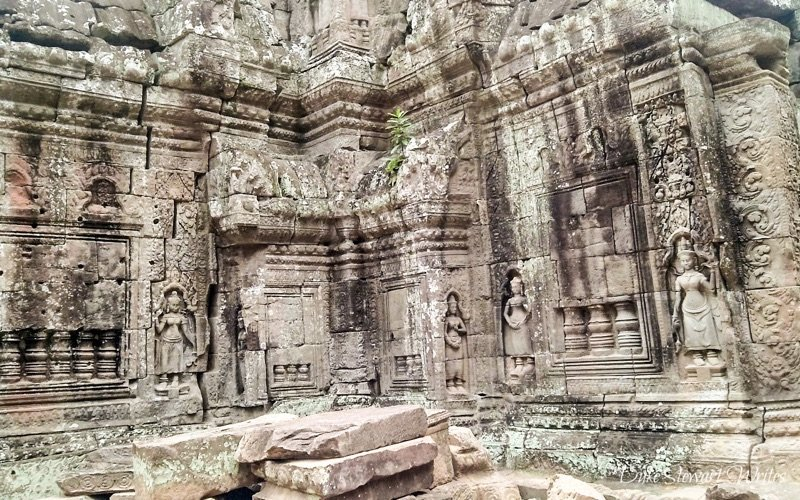 Carvings and Rubble at Ta Som near Angkor in Cambodia