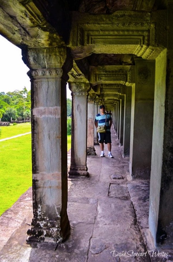 In the Angkor Wat interior wall outer corridor
