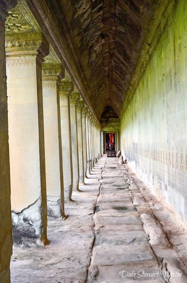 Inside the Angkor Wat exterior wall