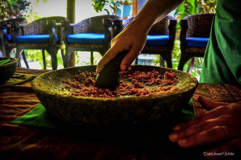 Making rendang paste in Bali, Indonesia