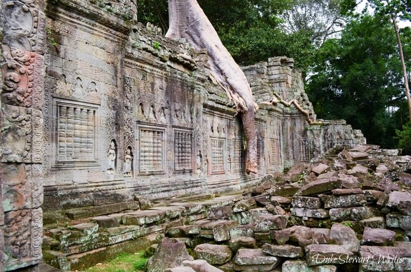 Rubble and Overgrown Tree at Preah Khan near Angkor, Cambodia