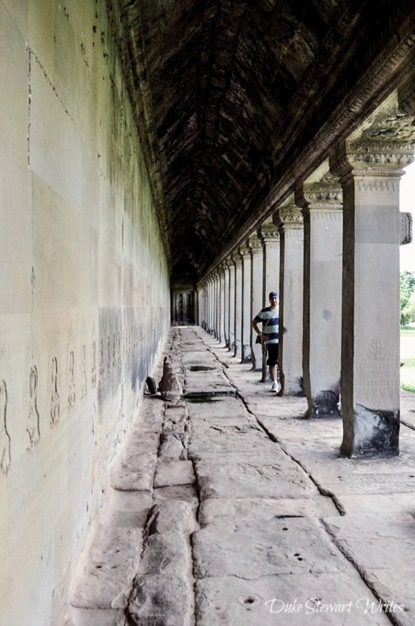 Standing Inside the Angkor Wat exterior wall