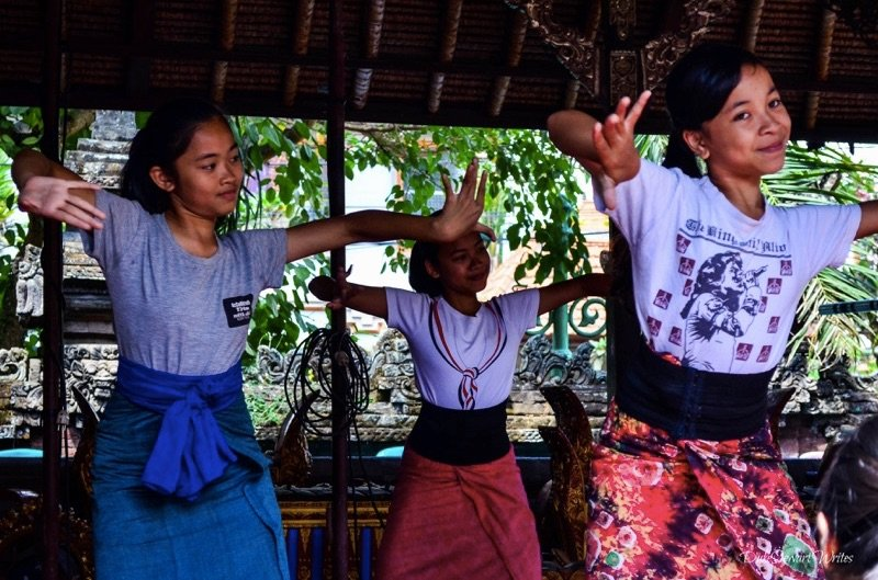 Young girls dancing at Ubud Palace in Bali, Indonesia