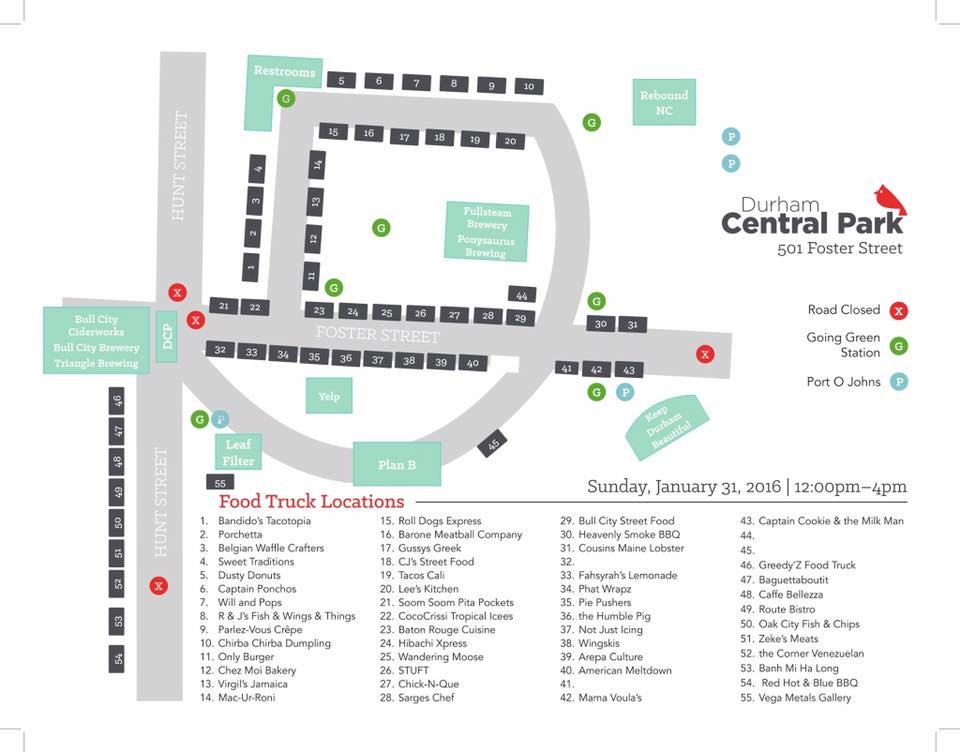 Durham Food Truck Rodeo Map Courtesy of Durham Central Park