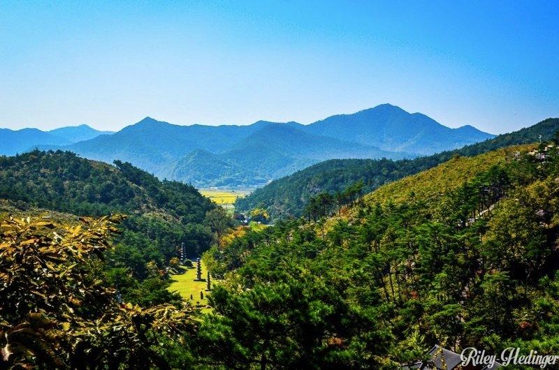 Korea Hwasun Unjusa Temple Valley and Mountains
