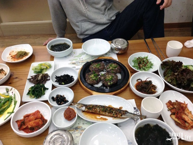 Korean Food Deokgalbi and Side Dishes