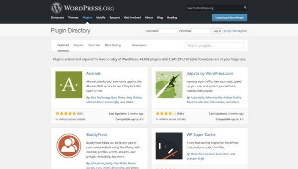 Wordpress Plugins image via WordPress.org