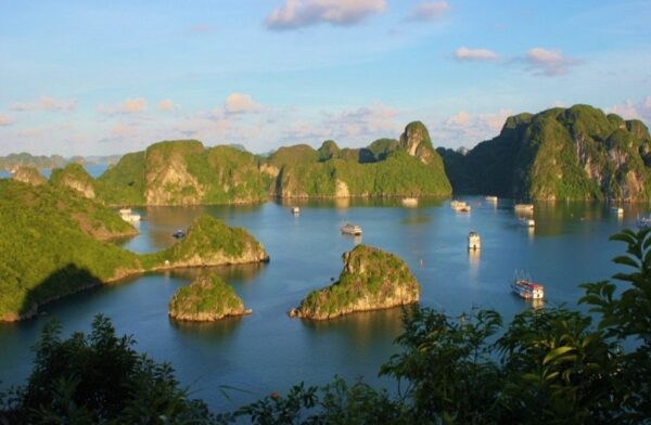 Halong Bay, Vietnam Junk Boats from Ti Top Karst Photo by JetSettingFools.com