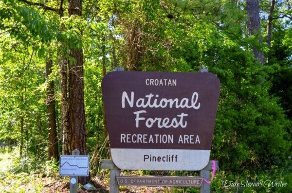 Croatan National Forest Pine Cliffs Entrance Sign