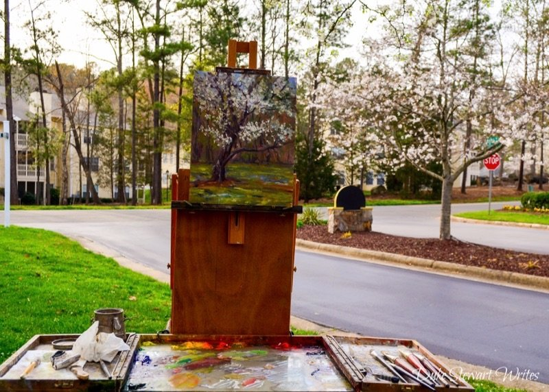 Artist Painting Pear Blossoms in Durham