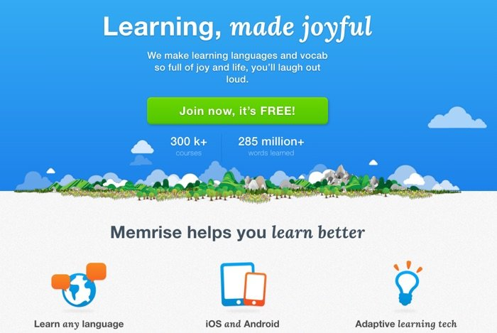 Memrise Homepage Screencapture by DukeStewartWrites