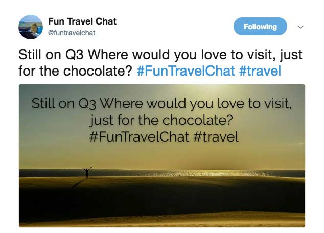 #FunTravelChat Question Example Image