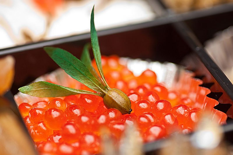 Japanese Salmon Roe Sushi Photo Credit Flickr User Adam Chamness