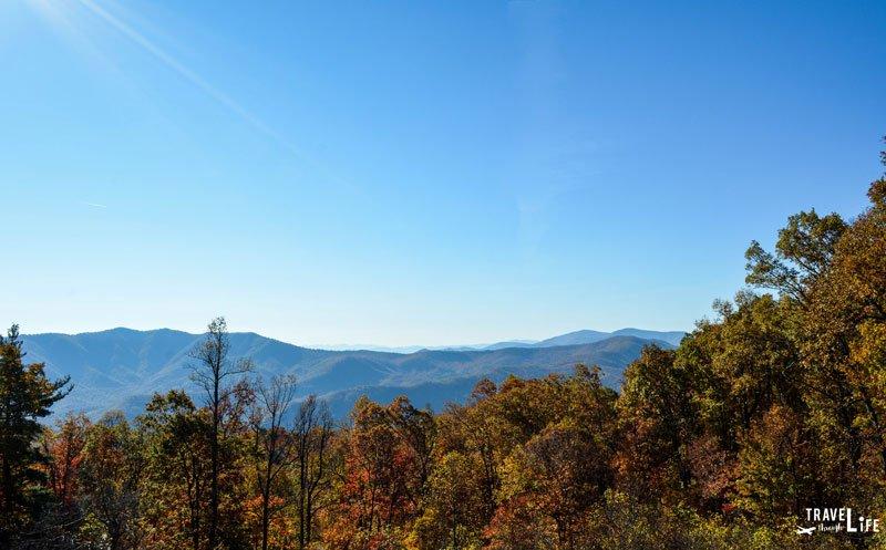 Linville Falls Fall Foliage and Blue Ridge Mountains