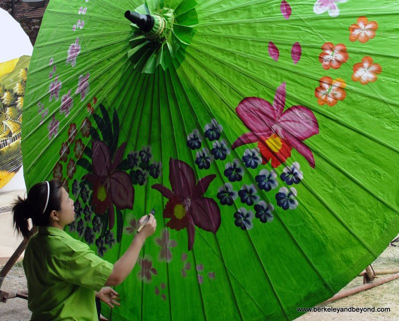 Northern Thailand Chiang Mai Borsang Village Umbrella Making Centre Big Green Photo by Carole Terwilliger Meyers