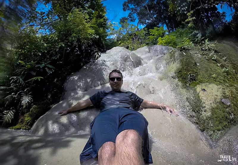 Sitting Down at Bua Thong Sticky Waterfalls Thailand
