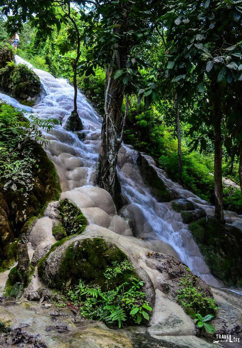 Thailand Person Climbing Bua Thong Sticky Waterfalls