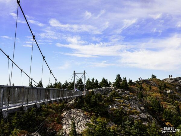 Hiking near Asheville NC Grandfather Mountain Mile High Swinging Bridge