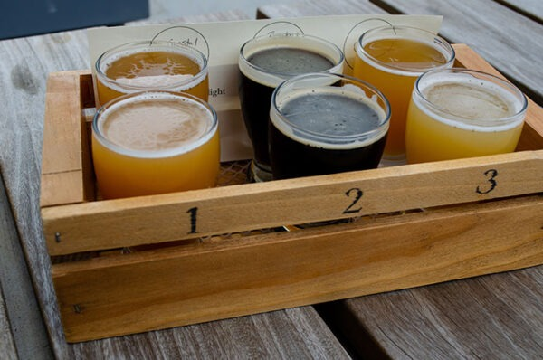 Breweries in Roanoke VA Big Lick Brewing Flight Image